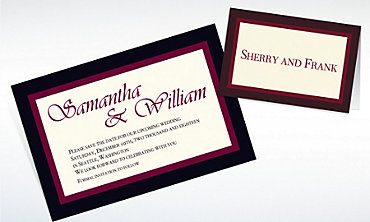 Custom Austere Border Burgundy Invitations & Thank You Notes
