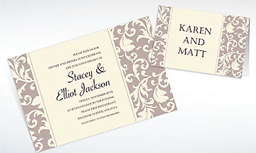 Custom Damask Stripe Taupe Invitations & Thank You Notes
