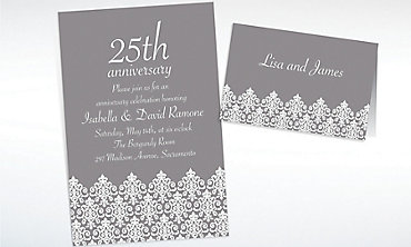 Custom Unbridled Filigree Gray Invitations & Thank You Notes