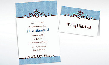 Custom Ornamental Lines Periwinkle Invitations & Thank You Notes