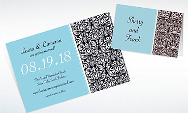 Custom Decorative Damask Teal Invitations & Thank You Notes