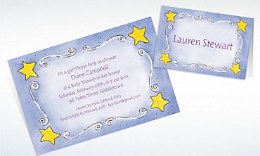 Custom Sweet Stars & Swirls Baby Shower Invitations & Thank You Notes