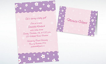 Custom Dainty Flowers & Scallop Baby Shower Invitations & Thank You Notes