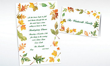 Custom Autumn Leaves Border Invitations & Thank You Notes