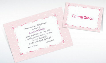 Custom Pink Lace & Bows Baby Shower Invitations & Thank You Notes