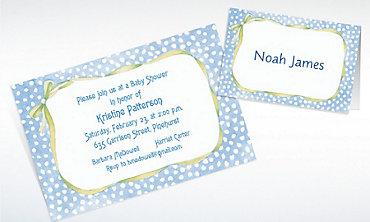 Custom Blue Polka Dots with Bow Baby Shower Invitations & Thank You Notes