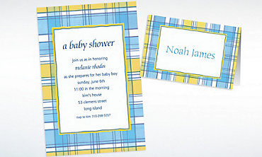 Custom Blue & Yellow Check Baby Shower Invitations & Thank You Notes