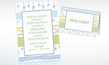 Custom Stars with Gingham Baby Shower Invitations & Thank You Notes