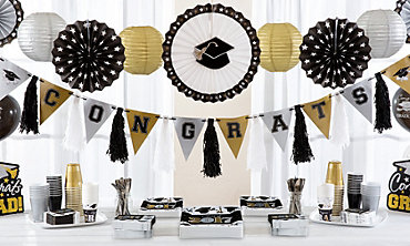 Black, Silver & Gold Graduation Decorations