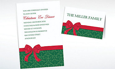 Custom Bow with Damask Christmas Invitations & Thank You Notes