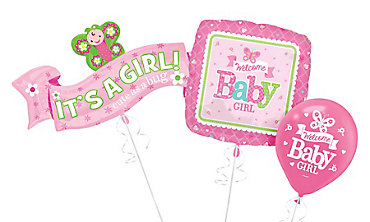 Girl Welcome Baby Balloons - Pink Little One