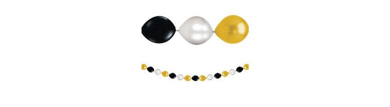 Black, Gold & Silver Mini Balloon Garland