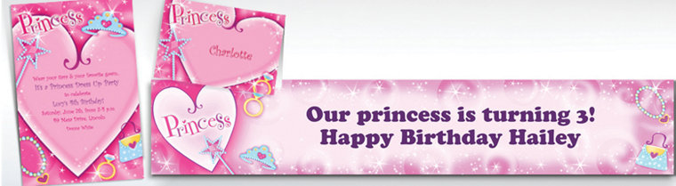 Custom Princess Invitations, Thank You Notes & Banners