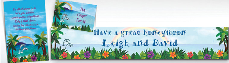 Custom Ocean View Luau Invitations & Thank You Notes
