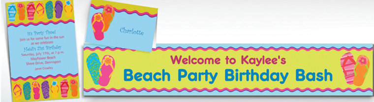 Custom Flip Flop Summer Invitations & Thank You Notes