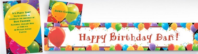 Custom Balloon Celebration Birthday Invitations & Thank You Notes