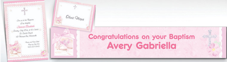 Custom Tiny Blessing Pink Invitations & Thank You Notes