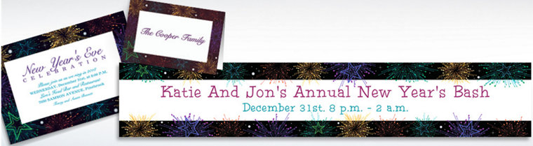 Custom Midnight Marquee New Year's Invitations & Thank You Notes