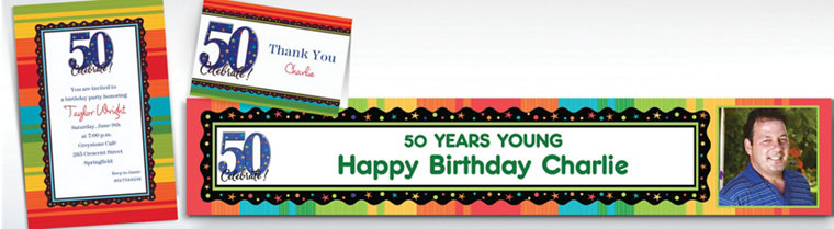 Custom A Year to Celebrate 50th Birthday Invitations