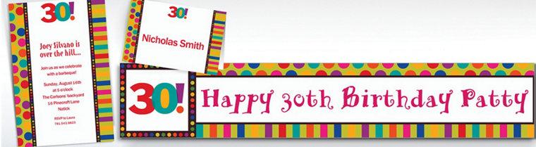 Custom Birthday Dots & Stripes 30th Birthday Invitations