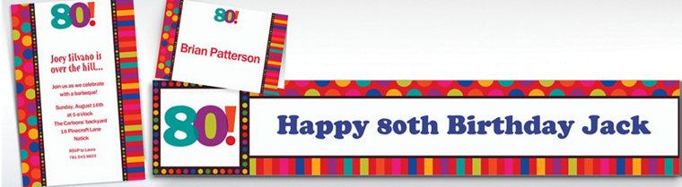 Custom Birthday Dots & Stripes 80th Invitations