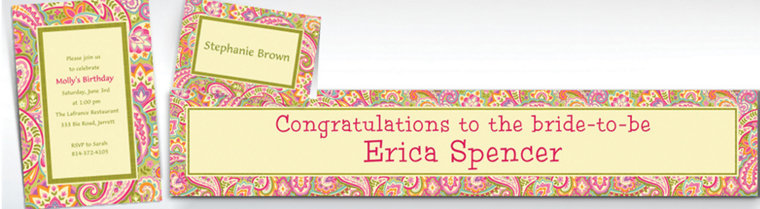 Custom Pretty Paisley Invitations & Thank You Notes