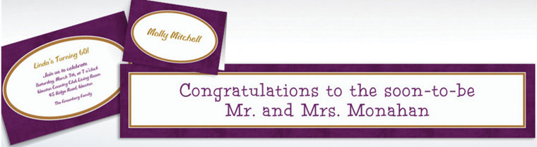 Custom Plum Border Invitations & Thank You Notes