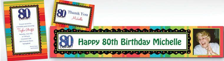 Custom A Year to Celebrate 80th Invitations & Thank You Notes