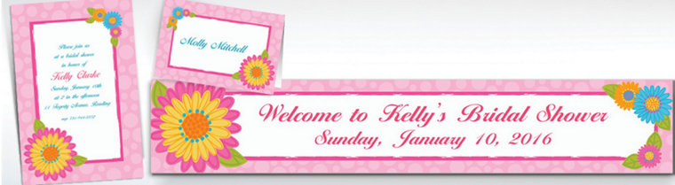 Custom Splashy Flower Invitations & Thank You Notes