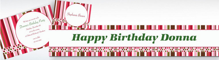 Custom Party Stripe Invitations & Thank You Notes