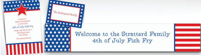 Custom Red, White & Blue Stars Patriotic Invitations & Thank You Notes