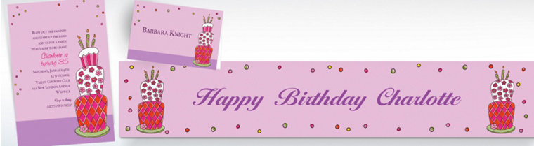 Custom Lovely Birthday Cake Invitations & Thank You Notes