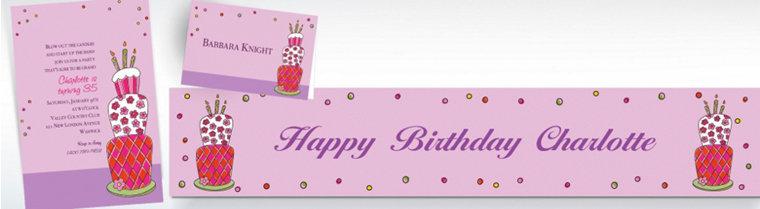 Custom Lovely Birthday Cake Invitations & Thank You Notes