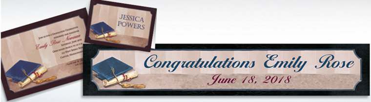 Custom Framed Cap and Diploma Graduation Invitations & Thank You Notes
