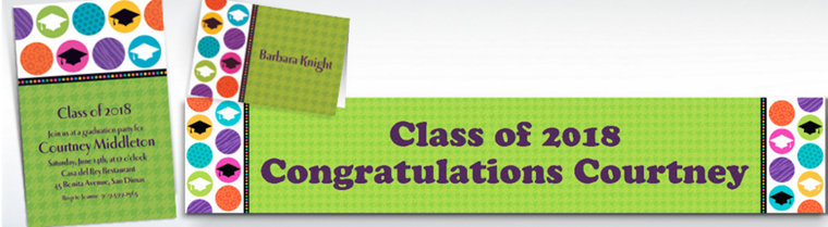 Custom Colorful Commencement Graduation Invitations & Thank You Notes