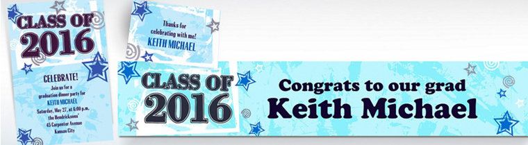 Custom Blue Class Year with Stars Graduation Invitations & Thank You Notes