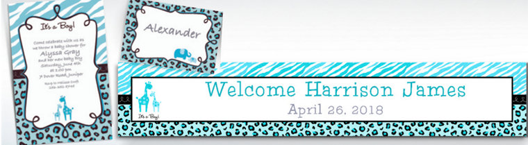 Custom Blue Safari Baby Shower Invitations & Thank You Notes