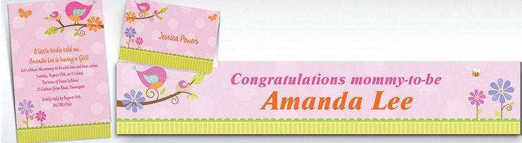 Custom Tweet Baby Girl Baby Shower Invitations & Thank You Notes