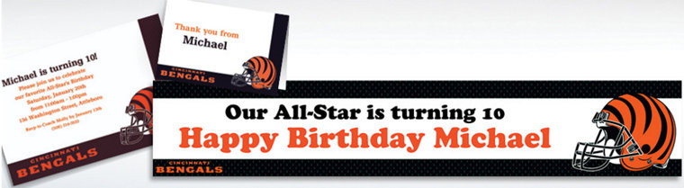 Custom Cincinnati Bengals Invitations & Thank You Notes