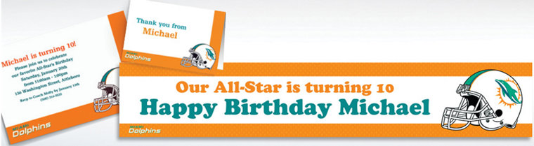 Custom Miami Dolphins Invitations & Thank You Notes