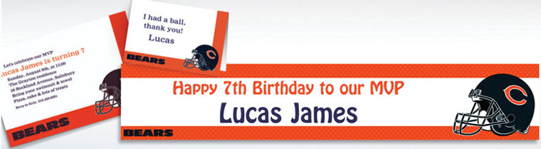 Custom Chicago Bears Invitations & Thank You Notes