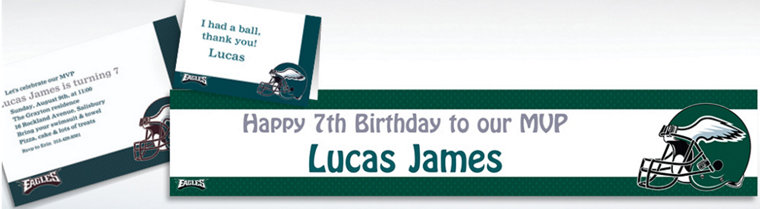 Custom Philadelphia Eagles Invitations & Thank You Notes