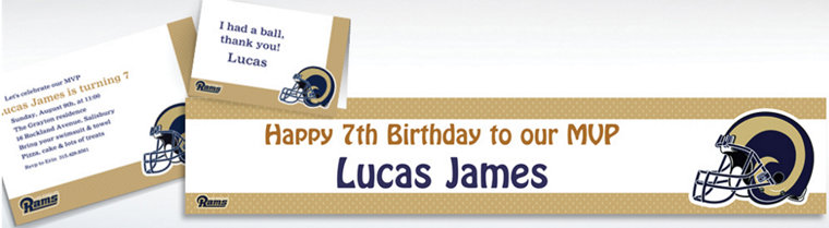 Custom Los Angeles Rams Invitations & Thank You Notes