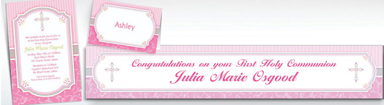 Custom Pink Communion Blessings Invitations & Thank You Notes