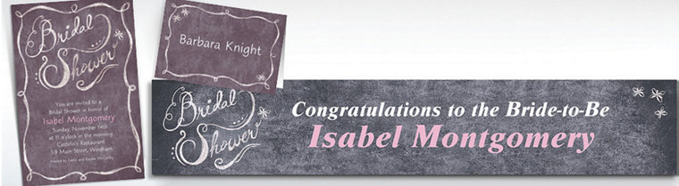 Custom Chalkboard Bridal Shower Invitations & Thank You Notes