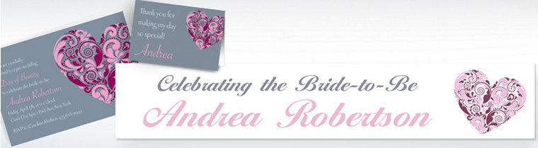 Custom Big Heart Bridal Shower Invitations & Thank You Notes