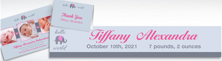 Custom Hello World Girl Announcements, Thank You Notes & Banners