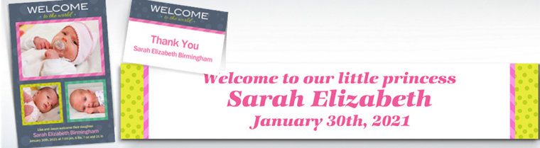 Custom Welcome to the World Girl Announcements, Thank You Notes & Banners