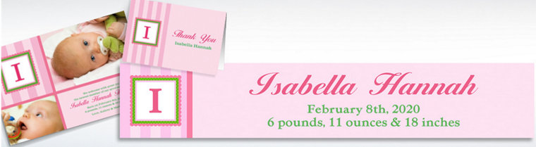 Custom Jumbo Initial Girl Announcements, Thank You Notes & Banners