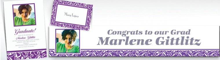 Custom Purple Ornamental Scroll Invitations & Thank You Notes